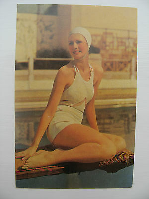 BATHING BEAUTY in 1937 a classic outfit of the period - REPRODUCTION POSTCARD