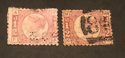 QV 1870- 1/2 d  penny x2 rose red plates 1+10