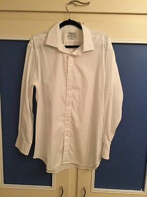 Mens TM Lewin White Cotton Slim Fit Shirt 17.5