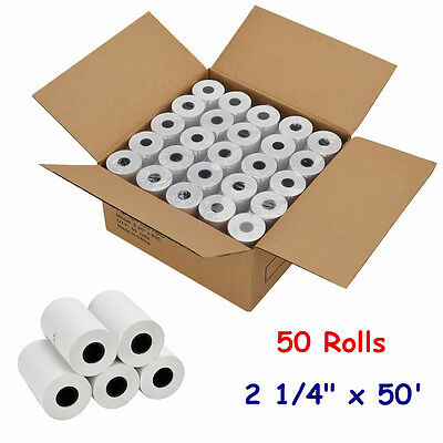 "2 1/4"" x 50' Ft Thermal Receipt Paper POS Cash Register - 50 Rolls Free Shipping"