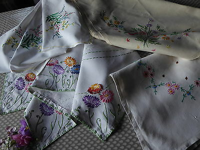 VINTAGE HAND EMBROIDERED TABLECLOTHS x 4 - LOVELY JOB LOT OF EMBROIDERED CLOTHS