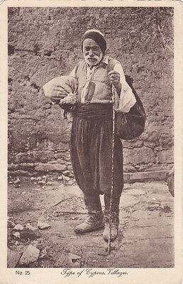 CYPRUS POSTCARD TYPE OF CYPRUS VILLAGER GLASZNER 1920s