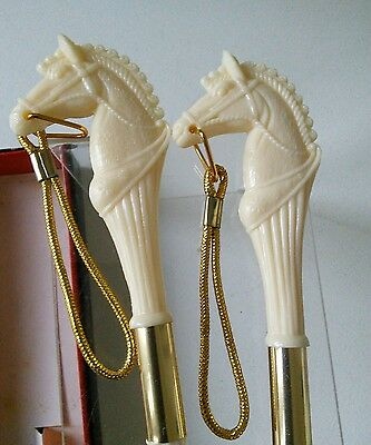 Vintage Horse Clothes Brush and Shoe Horn White Plastic