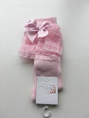 Little Darlings Baby Girls Pink Lace Spanish style Knee High Designer Socks
