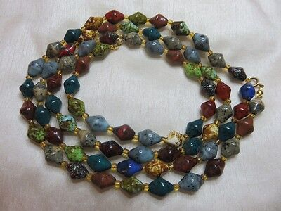 Flapper Length Murano Glass Faux Scottish Agate Necklace
