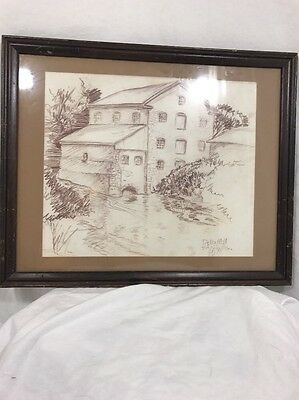 Signed and Framed drawing Detla Mill by Eric Robertson art