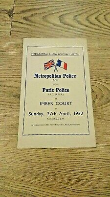 Metropolitan Police v Paris Police 1952 Rugby Union Programme