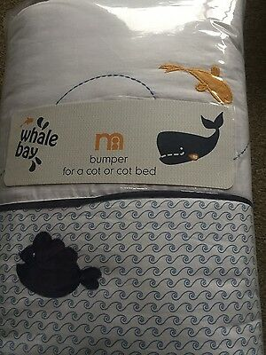 NEW Mothercare Whale Bay bumper for a cot/cot bed