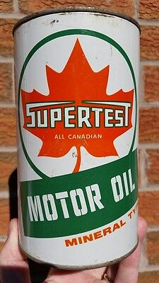 Supertest Motor Oil Mineral Type Imperial Quart Tin Can All Canadian