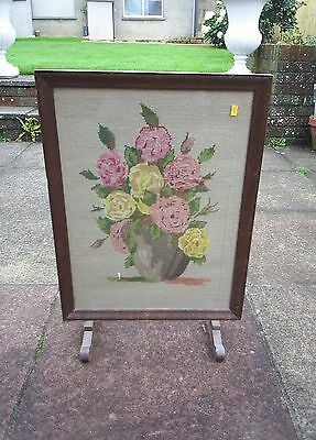 Vintage Retro wooden fire screen with embroidered front Flowers Dated 1957
