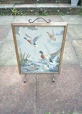 Vintage Retro wooden fire screen with embroidered front Ducks Metal Handle Feet