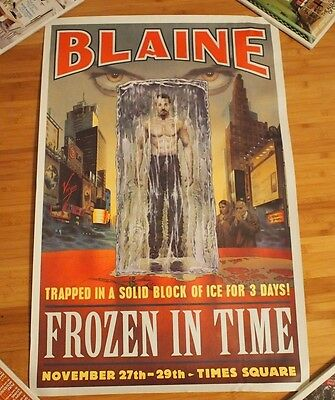"""DAVID BLAINE FROZEN IN TIME 2000 Times Square NYC Original Poster 25""""x38"""""""