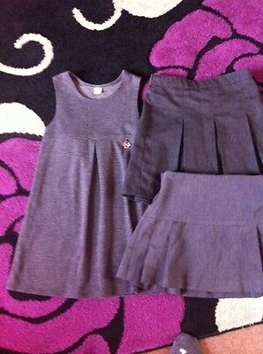 Girls Grey School Dress And Skirts Age 4-5 Years