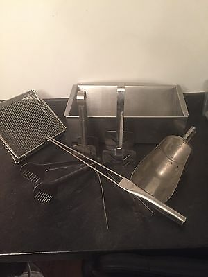 Stainless Steel Fish Chip Shop Serving Tongs Batter Tin Scoops Utensils