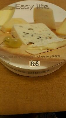 Nuovo Italian Cheese Porcelain Plates Boxed 4 Patterns