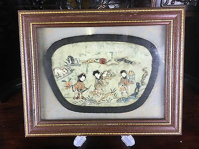 Antique Chinese Embroidered Silk Panel 20Th Century
