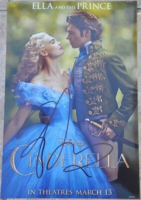 "Lily James Signed 12"" x 8"" Colour Photo Disney Cinderella"