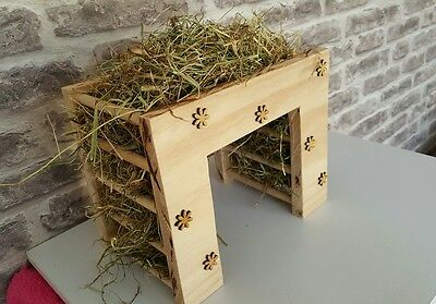 Rabbit, guinea pig feeder, hay rack with flowers