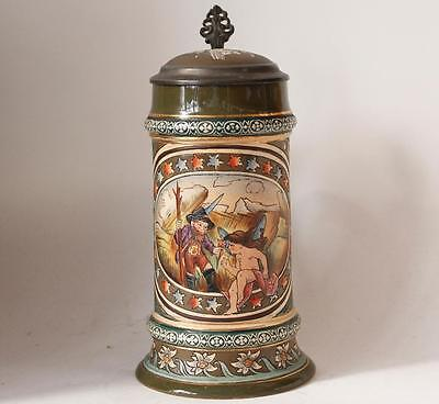 Antique Etched Beer Stein Alpine Gnome and Cupid Scene by S.P.Gerz #258 c.1890s