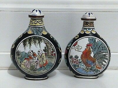 2 Chinese enamel on copper snuff bottles hand painted,