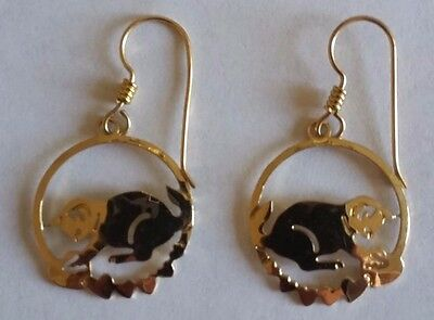Gold Earrings Cat Playing With Tiny Hearts Pierced Ears Stamped
