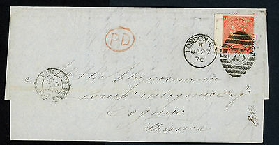 GREAT BRITAIN 1870 4d QV COVER  # 43 PL11 WING VG-F