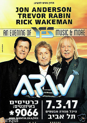 ARW (ANDERSON, RABIN, WAKEMAN) YES Tour Israel 2017 Original Flyer Hebrew RARE