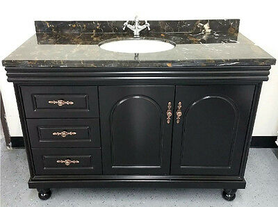 """New 48"""" Marble Top Bathroom Single Vanity Cabinet w/ Sinks + Faucets Included"""