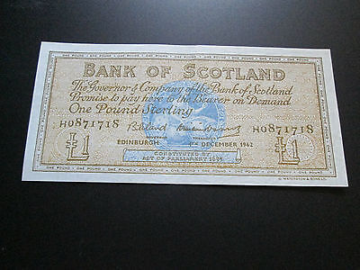 A/unc 1962 Bank Of Scotland £1 Note