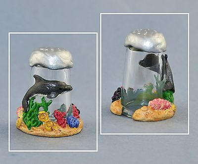 Sterling Classic Glass Thimble - Dolphin