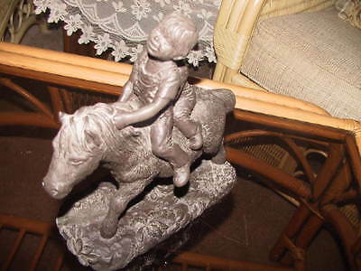 Highly collectable signed large bronzed cold cast statue of children on pony
