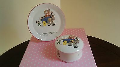 Mabel Lucie Attwell Plate And Trinket Box 'children And Donkey'
