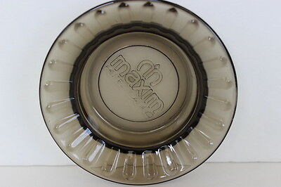 "Vintage Maxim Hotel Casino Smokey Fluted Glass Round Ashtray 4.5"" Souvenir"