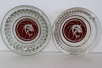 2 Vintage MGM Grand Hotel Casino Clear Glass Ashtrays Burgundy Lion Round Logo