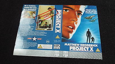 Sample  Vhs Cover ..... Project X ...matthew Broderick