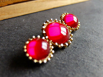 Vintage Red Glass Brooch Pin 1950s style