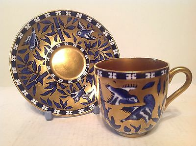 Coalport Demitasse Cup and Saucer Birds and Bamboo Pattern