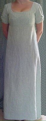 Jane Austen Regency Style Dress Made To Measure Mint Green & White Stripe