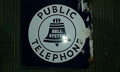 Vintage Double Sided Porcelain Bell Telephone Sign