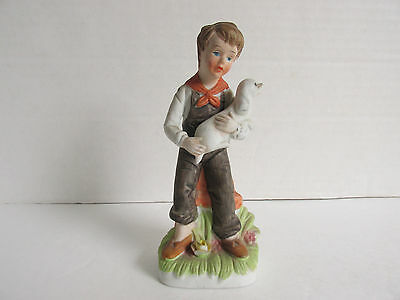 Vintage Antique Ceramic Porcelain  Boy With Lamb Figurine