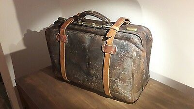 Vintage Leather Doctors Bag 1920's Steampunk Gothic Medical Gladstone?