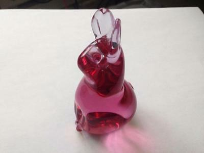 Rare Vintage.Topaz Cranberry Glass Rabbit By Wedgwood Paul Miller 1970s