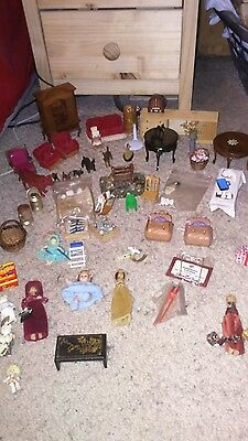 Job lot of over 60 items of Dolls House Furniture & figures