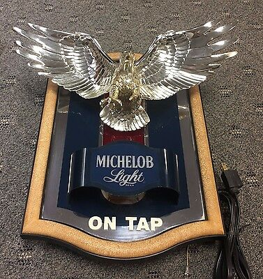 Vintage Rare Clean Lighted MICHELOB Light on Tap Beer 3-D Eagle Mirror Sign