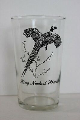 """Vintage Federal Clear Drinking Glass Ring Necked Pheasant Graphic 4.75"""" Tall"""