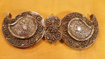 ANTIQUE EARLY OTTOMAN BALKAN SILVER GILT FILIGREE & REPOUSSE BELT BUCKLE 19th.c.