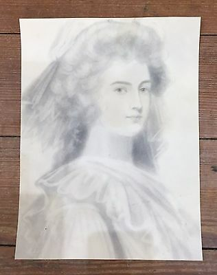 ANTIQUE pencil and watercolour portrait of a Georgian Beauty - early C19th