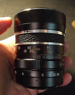 Hanimar 1:3.5 f=135mm No. 22256 Lens with Case. Nice and Clean and Clear.