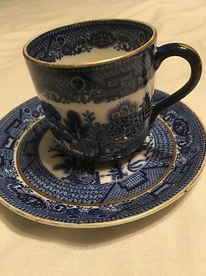 Blue And White Willow Pattern Miniature Cup And Saucer