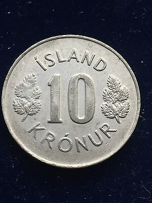 Iceland 10 Kronur 1980 Coat Of Arms Km#15 Xf+ Very Rare World Coin